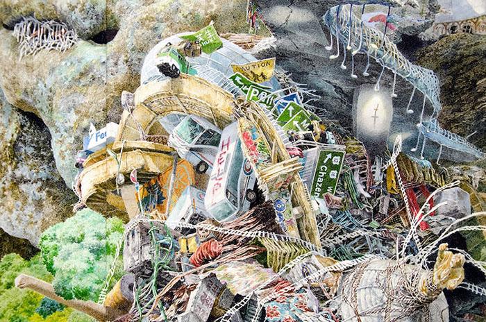 HELP Tsunami Debris Detail on Rebirth Painting by Manabu Ikeda