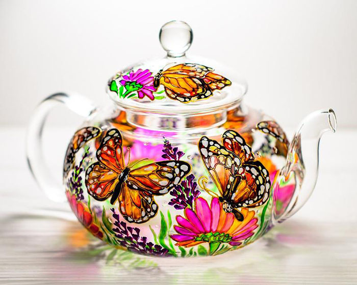 Hand-painted Butterflies and Flowers Teapot by Vitraaze