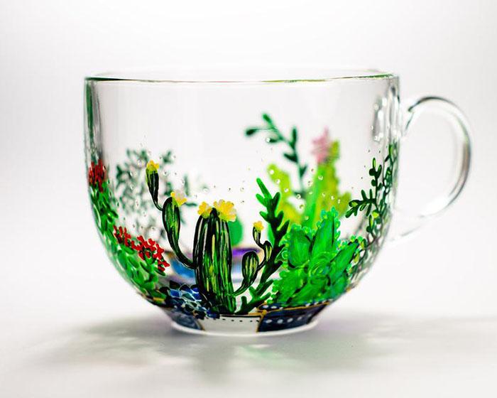 Hand-painted Cactus Mug by Vitraaze