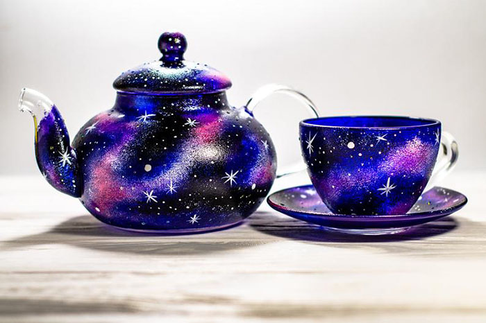 Hand-painted Celestial Teapot Set by Vitraaze