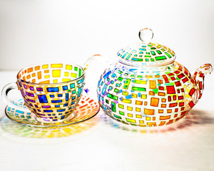 Hand-painted Colorful Teapot Set by Vitraaze