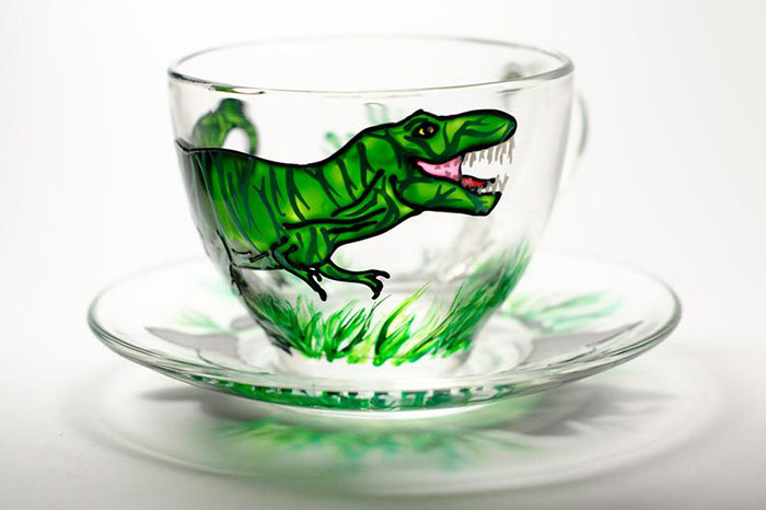Hand-painted Dinosaur Cup and Saucer by Vitraaze