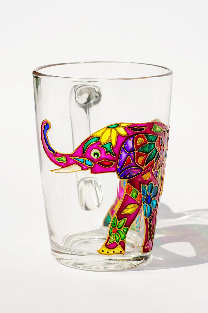 Beautiful Collection Of Hand Painted Glass Mugs And Teapots Look Like Stained Glass Art