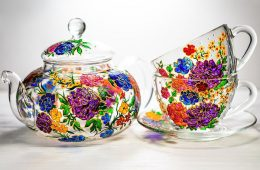 Hand-painted Floral Teapot Set by Vitraaze