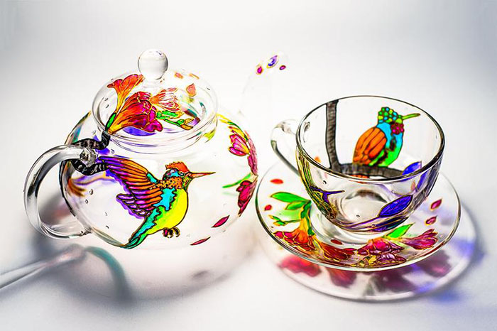 Hand-painted Hummingbird Teapot Set by Vitraaze