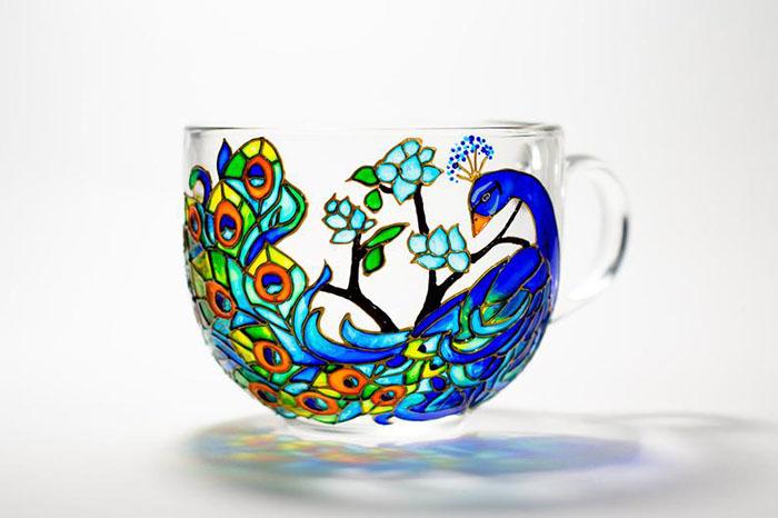 Hand-painted Peacock Mug by Vitraaze