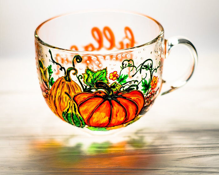 Hand-painted Pumpkin Mug by Vitraaze