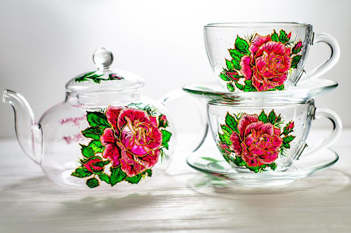 Hand-painted Rose Teapot Set by Vitraaze