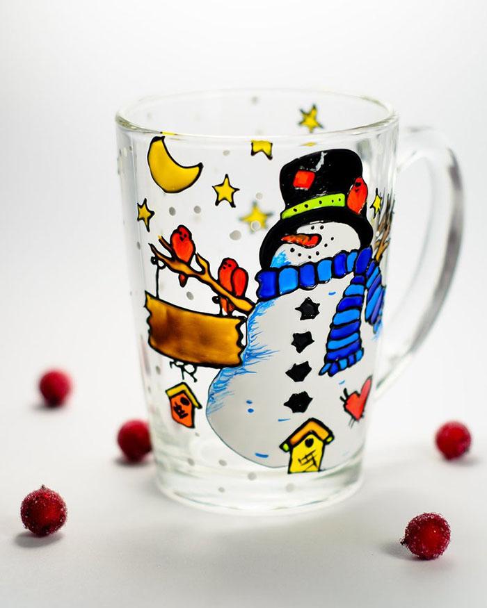 Hand-painted Snowman Mug by Vitraaze