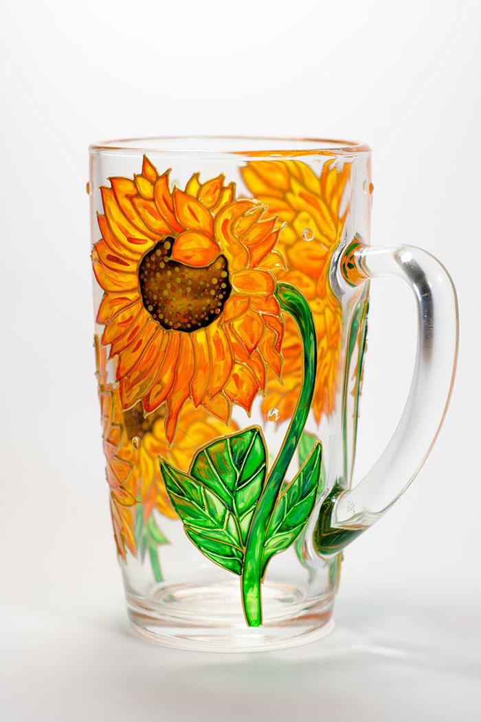 Hand-painted Sunflower Mug by Vitraaze