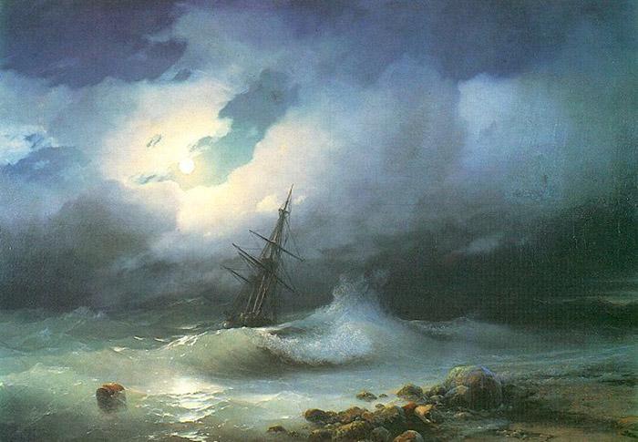 Ivan Konstantinovich Aivazovsky turbulent sea shore