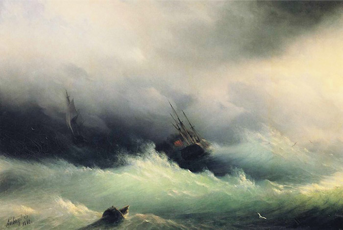 Ivan Konstantinovich Aivazovsky two ships battling angry sea