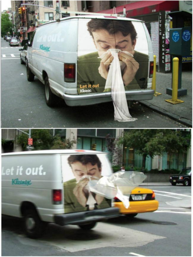 Kleenex Transit Advertisement Featuring a Man Blowing His Nose