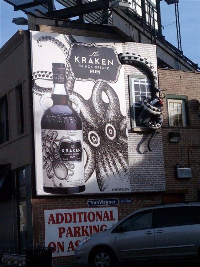 Kraken Black Spiced Rum Billboard Featuring a Tentacle Grabbing a Man