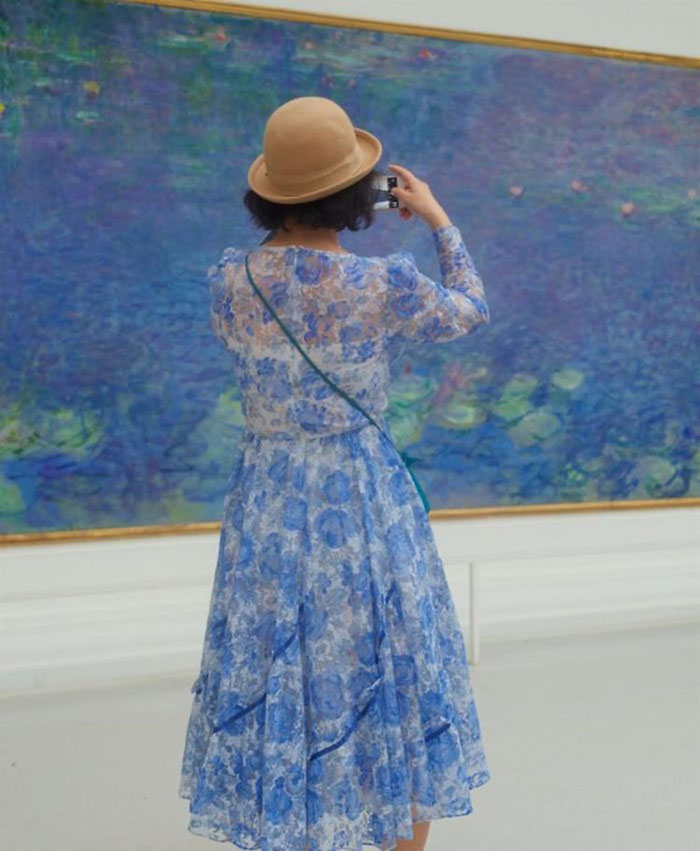 Lady in Blue Dress Matching Painting
