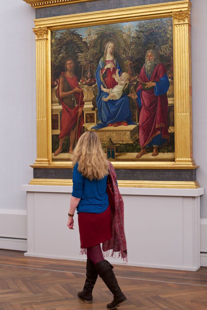 Lady in Blue Top and Red Skirt Matching Painting