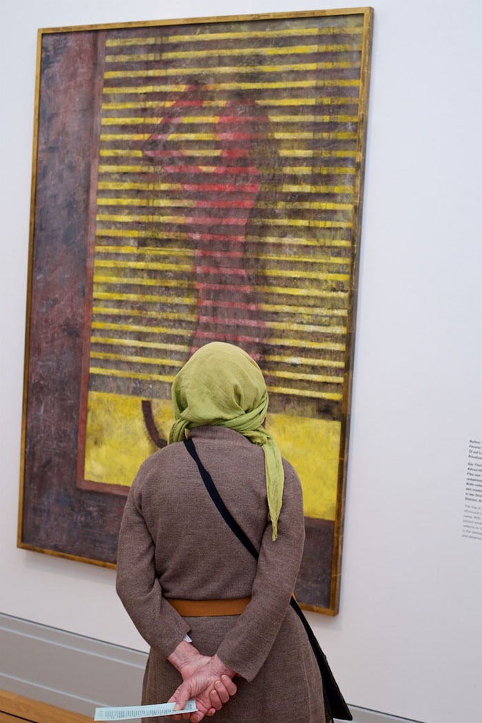 Lady in Brown Dress with Yellow Hijab Matching Painting