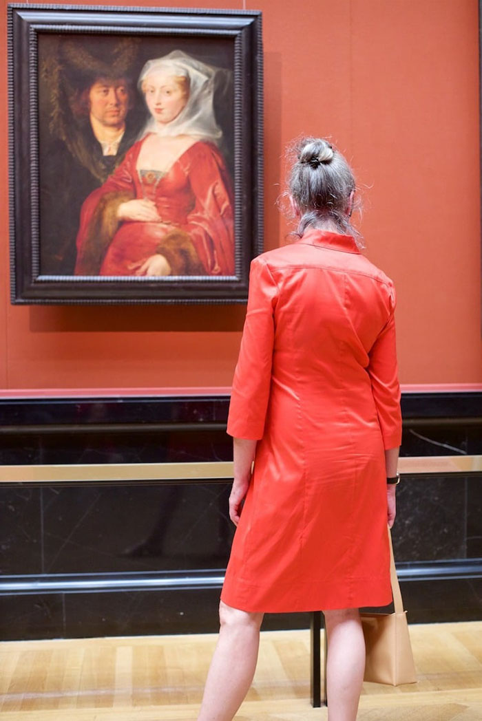 Lady in Red Dress Matching Painting