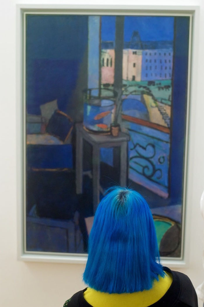 Lady with Blue Hair Matching Painting