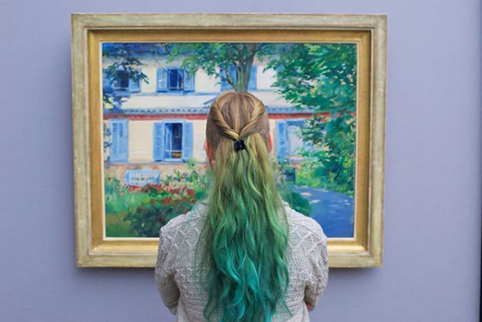 Lady with Green Ombre Hair Matching Painting