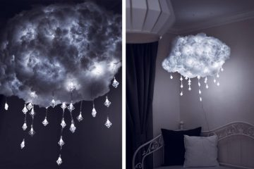 Lighted Floating Cloud Light with Dangling Snowflake LED String Lights in Living Room