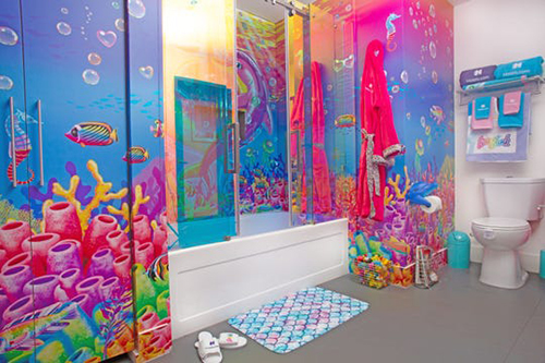 Lisa Frank-Themed Hotel Room bathroom different perspective