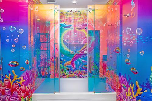 Lisa Frank-Themed Hotel Room bathroom