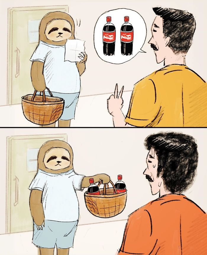 Man Asking a Sloth to Buy Two Bottles of Softdrinks