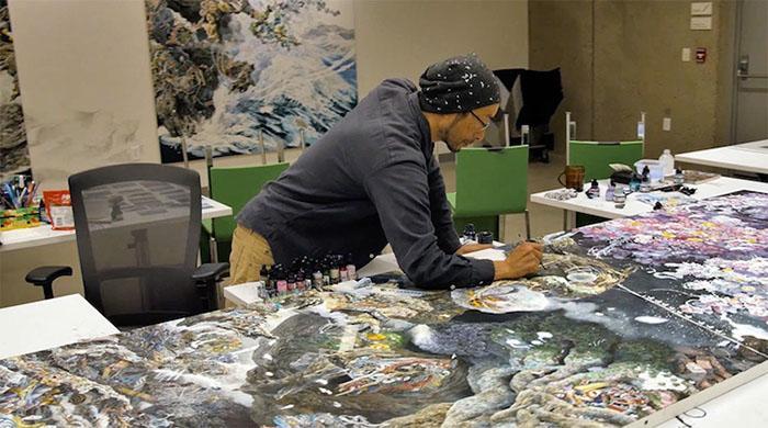 Manabu Ikeda Working on Rebirth Painting 2