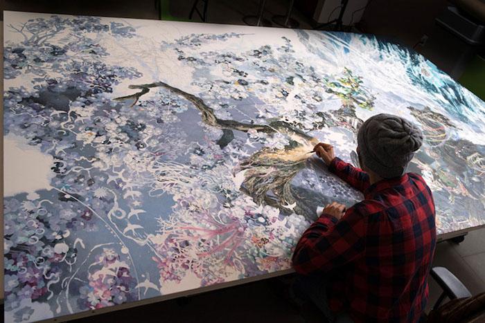 Manabu Ikeda Working on Rebirth Painting 3