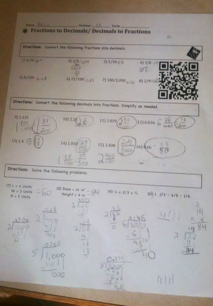 Math Homework Paper with a QR Code