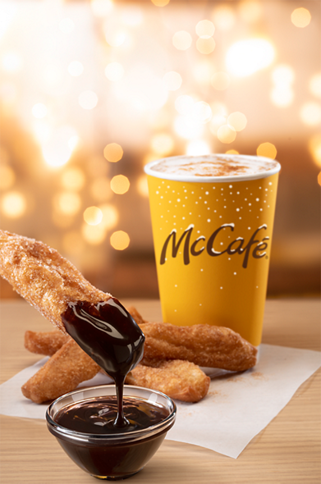 McDonald's Cinnamon Cookie Latte with a donut stick dipped in chocolate