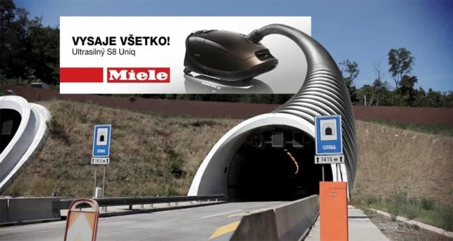 Miele Advertisement Featuring a Vacuum Cleaner Connected to a Tunnel