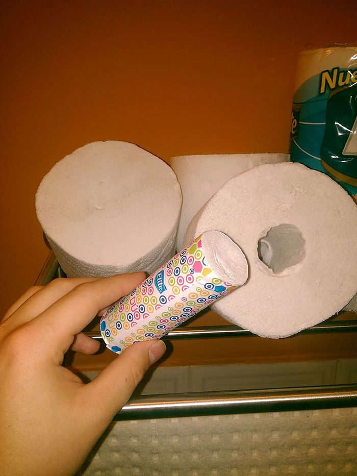 Mini Tissue Roll Inside a Toilet Paper Roll