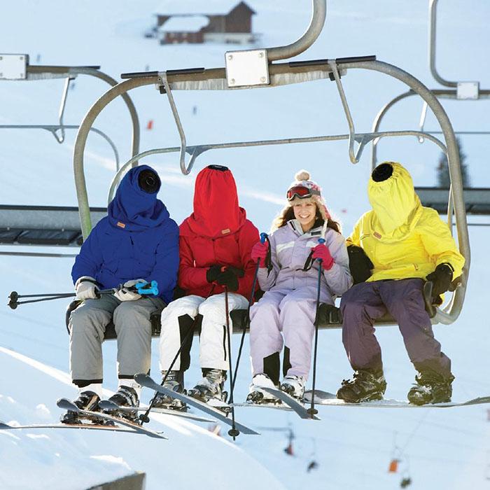 Nap Sack Sleep Hood Used in Skiing