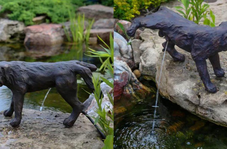 Naughty Peeing Dog Water Fountain Statue
