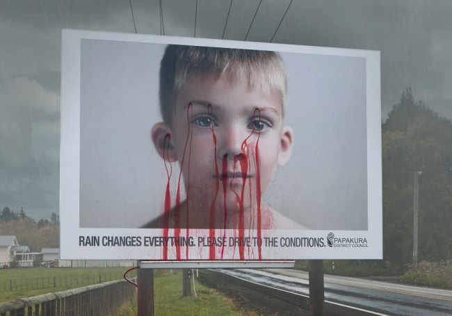 Papakura District Council Road Safety Billboard Featuring a Boy that Bleeds When It Rains 2