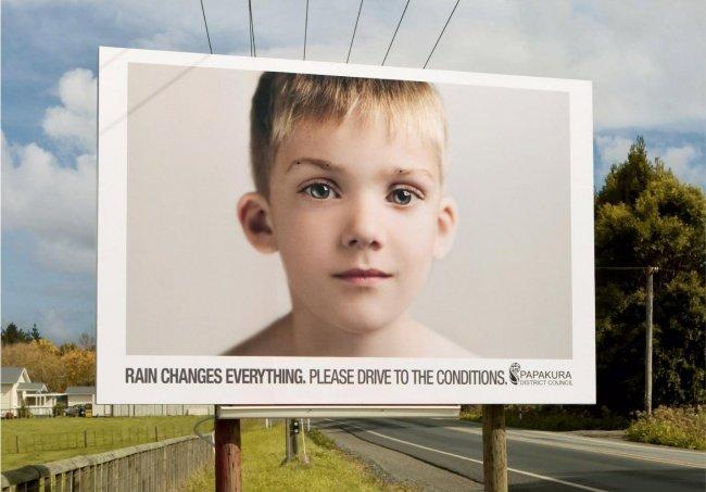 Papakura District Council Road Safety Billboard Featuring a Boy that Bleeds When It Rains