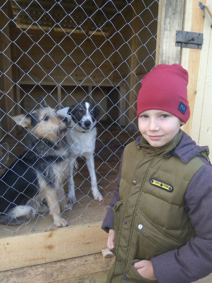 Pavel Abramov with Two Shelter Dogs