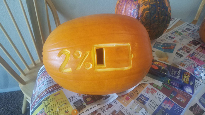 Pumpkin with 2% Battery Carving
