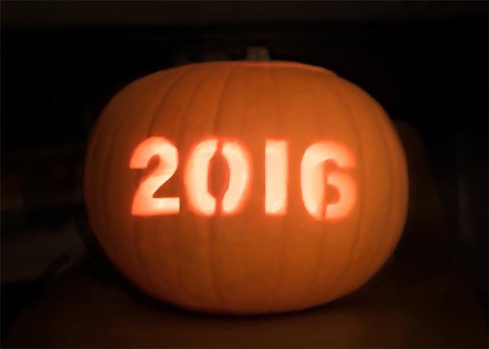 Pumpkin with 2016 Carving