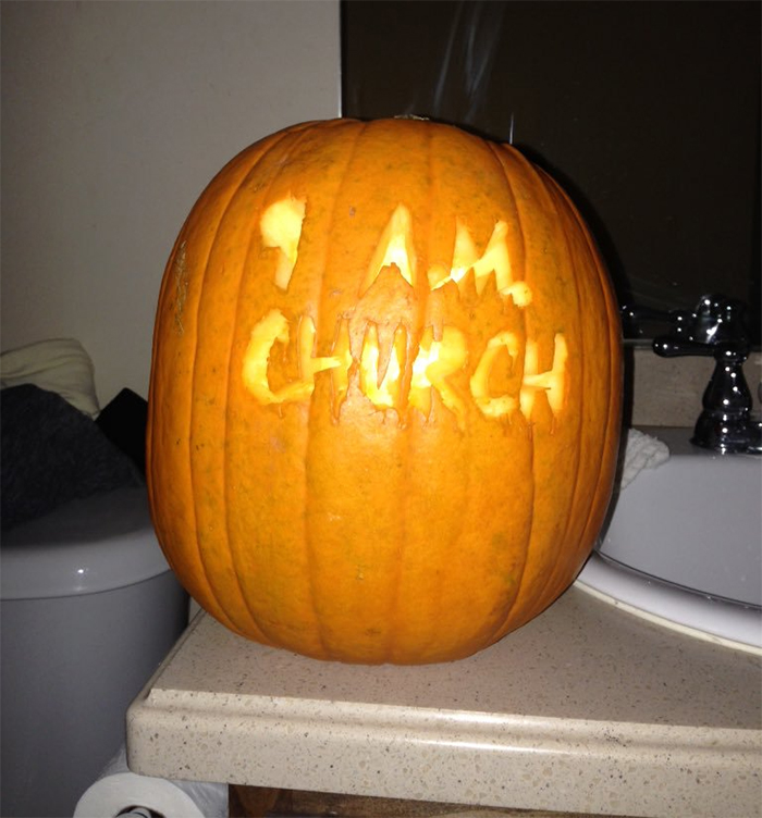 Pumpkin with 9 A.M. Church Carving