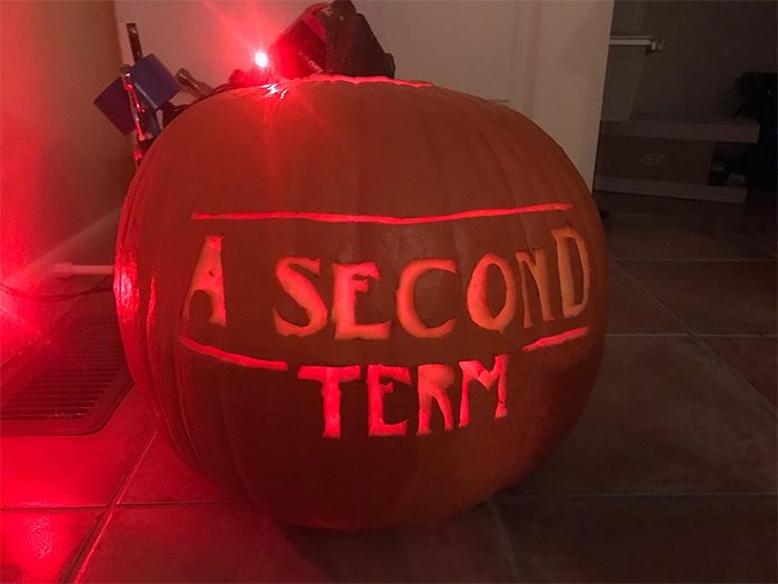 Pumpkin with A Second Term Carving