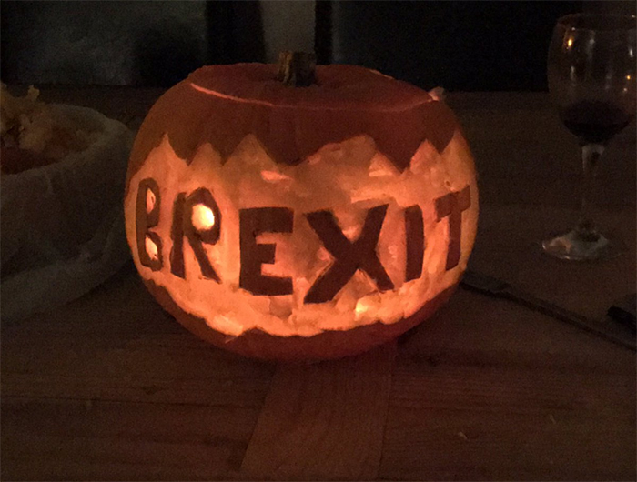 Pumpkin with Brexit Carving