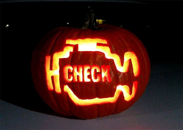 Pumpkin with Check Engine Light Carving