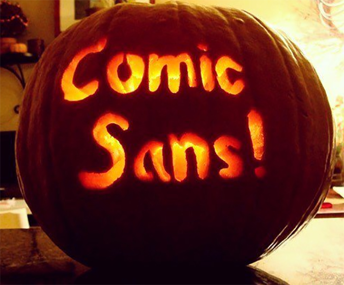 Pumpkin with Comic Sans! Carving
