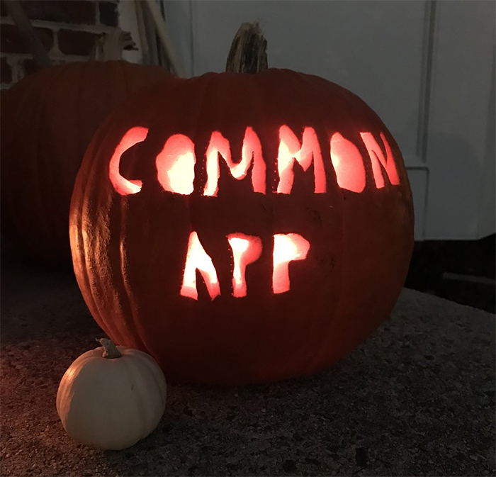 Pumpkin with Common App Carving
