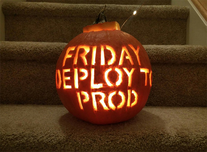 Pumpkin with Friday Deploy To Prod Carving