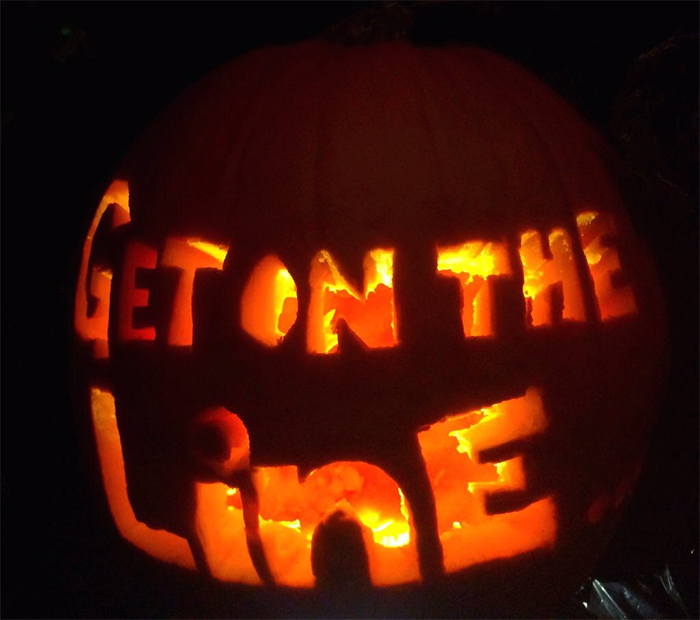 Pumpkin with Get On The Line Carving