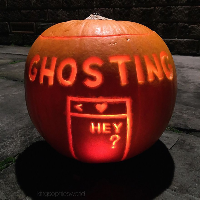 Pumpkin with Ghosting Carving